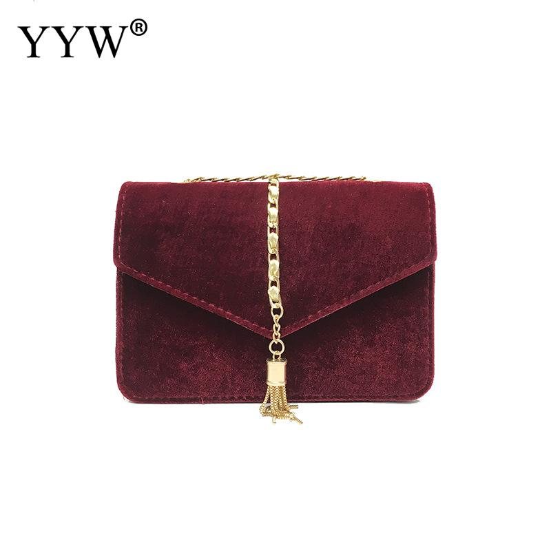 Elegant Tassel Women Crossbody Bag Winter Autumn Corduroy Solid Vintage Casual Women Small Package Female Simple Handbags Green