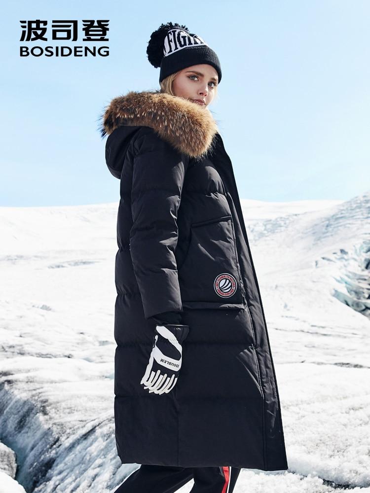 BOSIDENG 2018 nouveau hiver rigoureux duvet d'oie manteau grande fourrure naturelle hors de la vie étanche coupe-vent ÉPAISSIR longue parka B80142154