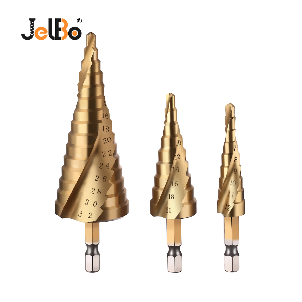 JelBo 3pcs HSS Spiral Grooved Step Drill Bit Solid Carbide Mini Drill Accessories Titanium Step Cone Drill Bit(4-12/20/32mm)
