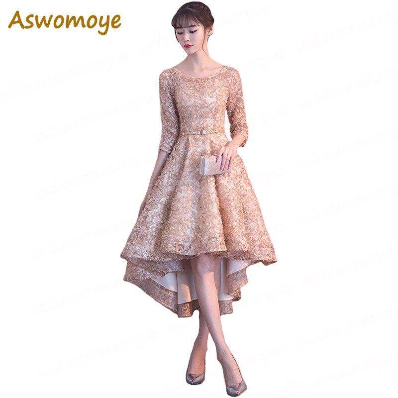 Aswomoye Elegant Short   Evening     Dress   2018 New Short Front Long Back Prom   Dresses   Soft Material Party   Dress   O-Neck robe de soiree