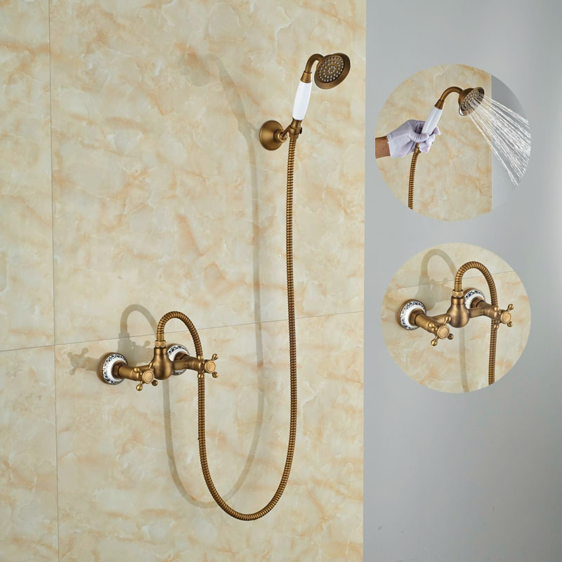 Newly Modern Antique Brass Shower Set Single Lever With Hand Shower Tap Mixer Faucet new modern antique barss shower jet bath single handle tap ceramic w hand shower tap mixer faucet