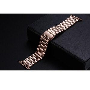 Роскошный классический браслет из нержавеющей стали для apple, золотой ремешок для Apple Watch 38 мм 42 мм 1:1 для apple iWatch 40 мм 44 мм