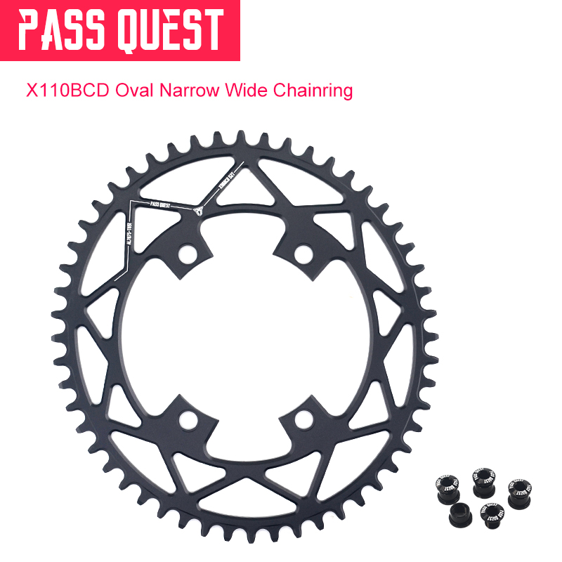 PASS QUEST Oval Narrow Wide Chainring 110BCD Road Bike Chain Wheel 42T 44T 46T 48T 50T 52T For R2000 R3000 DA9000 4700 5800 6800PASS QUEST Oval Narrow Wide Chainring 110BCD Road Bike Chain Wheel 42T 44T 46T 48T 50T 52T For R2000 R3000 DA9000 4700 5800 6800