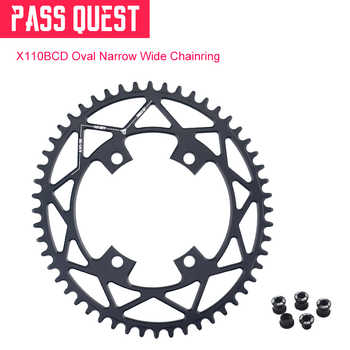 PASS QUEST Oval Narrow Wide Chainring 110BCD Road Bike Chain Wheel 42T 44T 46T 48T 50T 52T For R2000 R3000 DA9000 4700 5800 6800 - DISCOUNT ITEM  10% OFF Sports & Entertainment