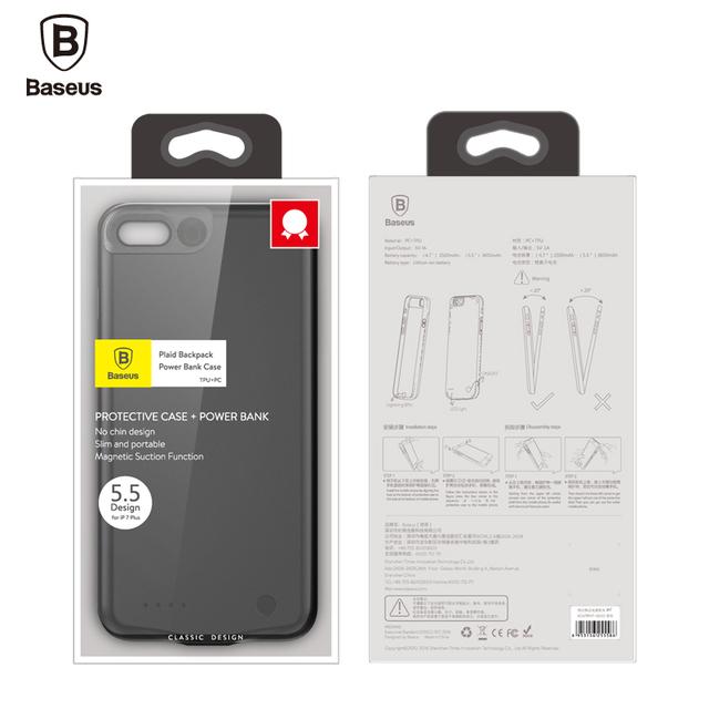 Coque batterie Baseus magnétique Extra fine pour iphone 7 puissance 2500 mah