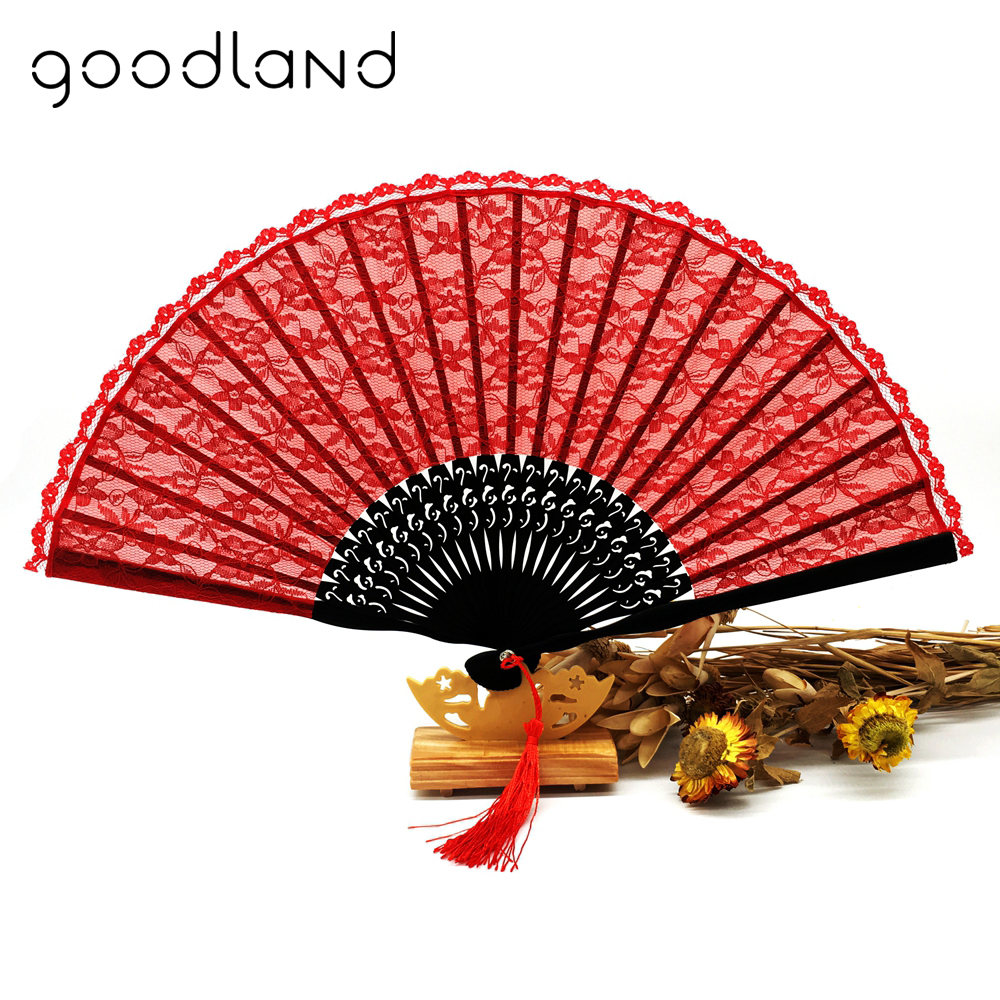 Free Shipping 10pcs/lot Delicate Classic Red Lace Folding Hand Held Flower Fan With Tassel For Gift Bridal Party Dancing Fans