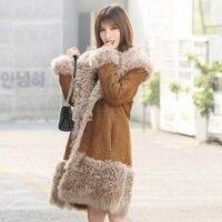 Новинка 2018 года, зимнее женское пальто с мехом, элегантное шерстяное пальто, пальто из натурального меха, пальто из овечьей шерсти, MW1704