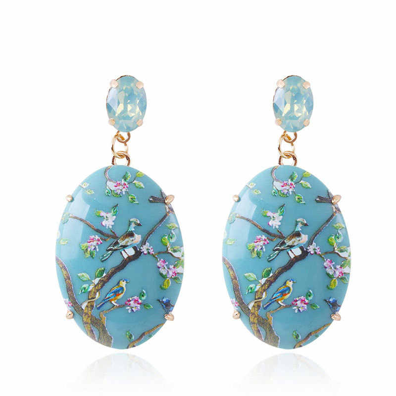 earings fashion jewelry New acrylic printed earrings from Europe and America are available in 5 colors women earrings ohrringe