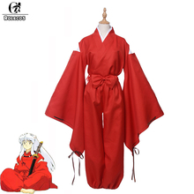 ROLECOS Japanese Classic Anime InuYasha Cosplay Costumes Red Kimono Main Character InuYasha Cosplay Clothes