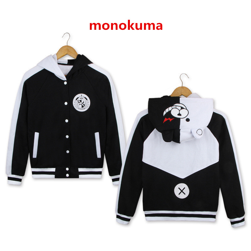 New Unisex Hoodies Danganronpa Monokuma Cosplay Costume Women Man Hooded Sweatshirt Black White Bear Coat Jacket Sportwear Top