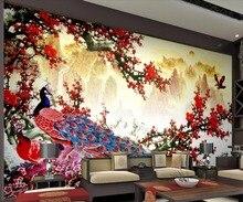 Купить с кэшбэком Beibehang Wallpaper large landscape plum peacock Chinese TV background wall paper home decoration 3d wallpaper papel de parede