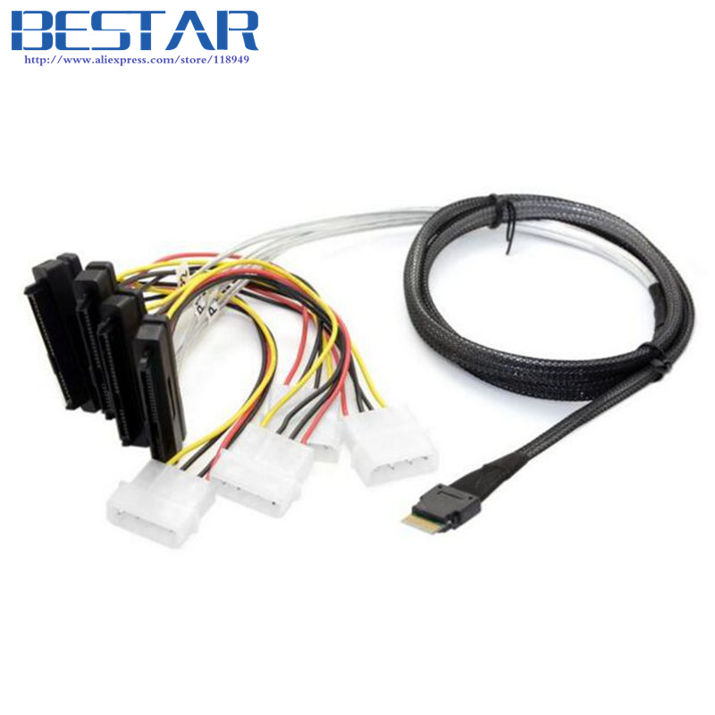0.5M 1.5FT Slim Line SAS 4.0 SFF-8654 4i 38pin Host to 4 SFF-8482 SAS 29pin Target Hard Disk Fanout Raid Cable connector 50cm 1 5ft 0 5m slim line sas 4 0 sff 8654 4i 38pin host to 4 sata 7pin target hard disk fanout raid connecting cable 50cm