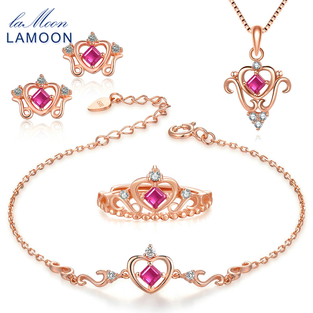 LAMOON 2018 New Real 925 Sterling Silver Natural Red Ruby 4PCS Jewelry Sets S925 Fine Jewelry
