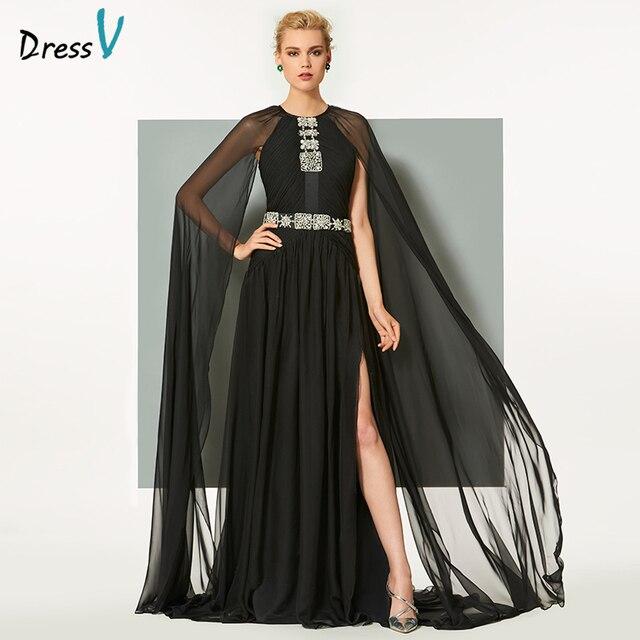 1a7f0c76c722b Dressv nero lungo abito da sera elegante scoop neck split lungo anteriore  maniche wedding party formal