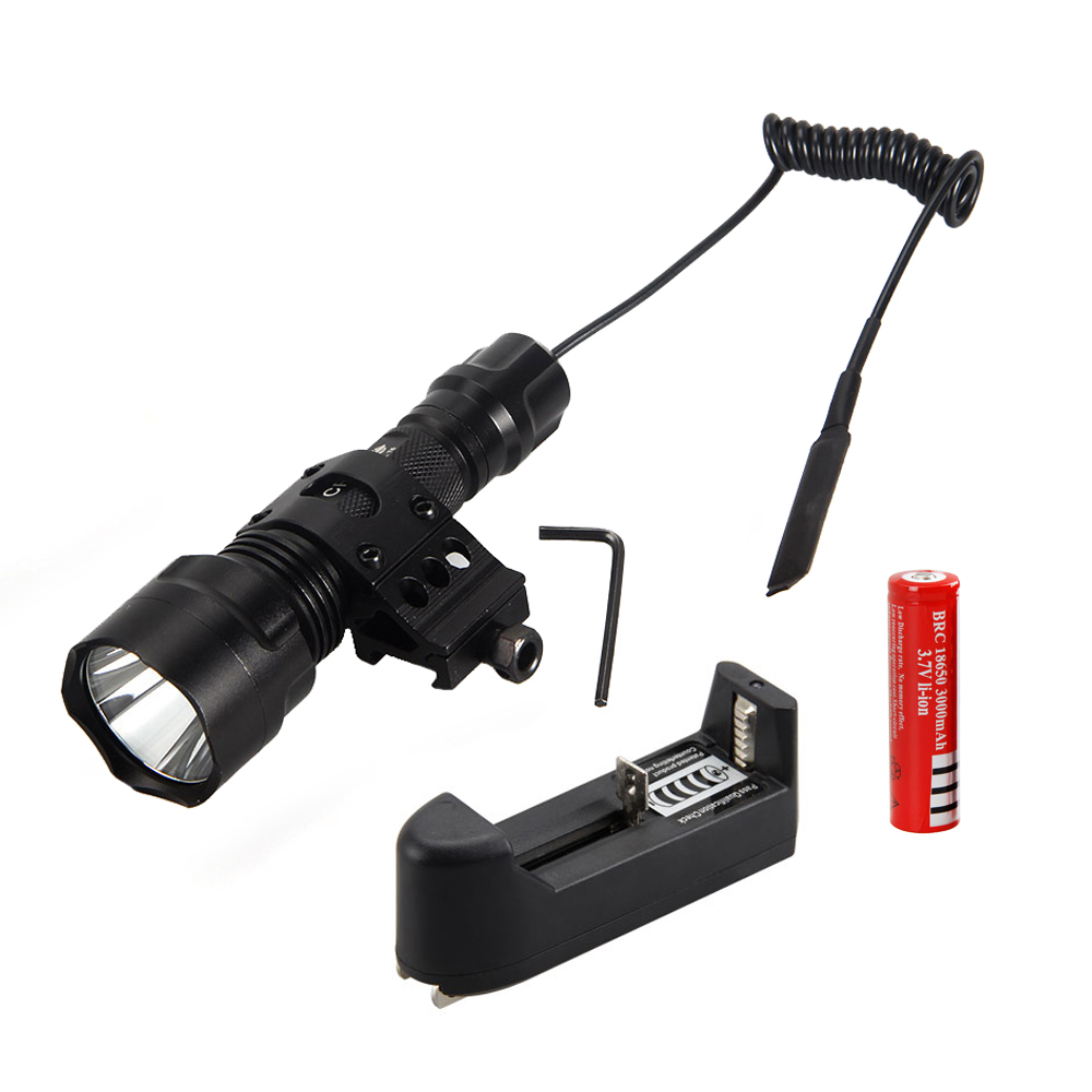 5000Lm XML T6 LED Tactical Flashlight Hunting Torch Light Shotgun/Rifle Lights Picatinny Weaver Mount +Charger+18650 Battery led tactical flashlight 501b cree xm l2 t6 torch hunting rifle light led night light lighting 18650 battery charger box