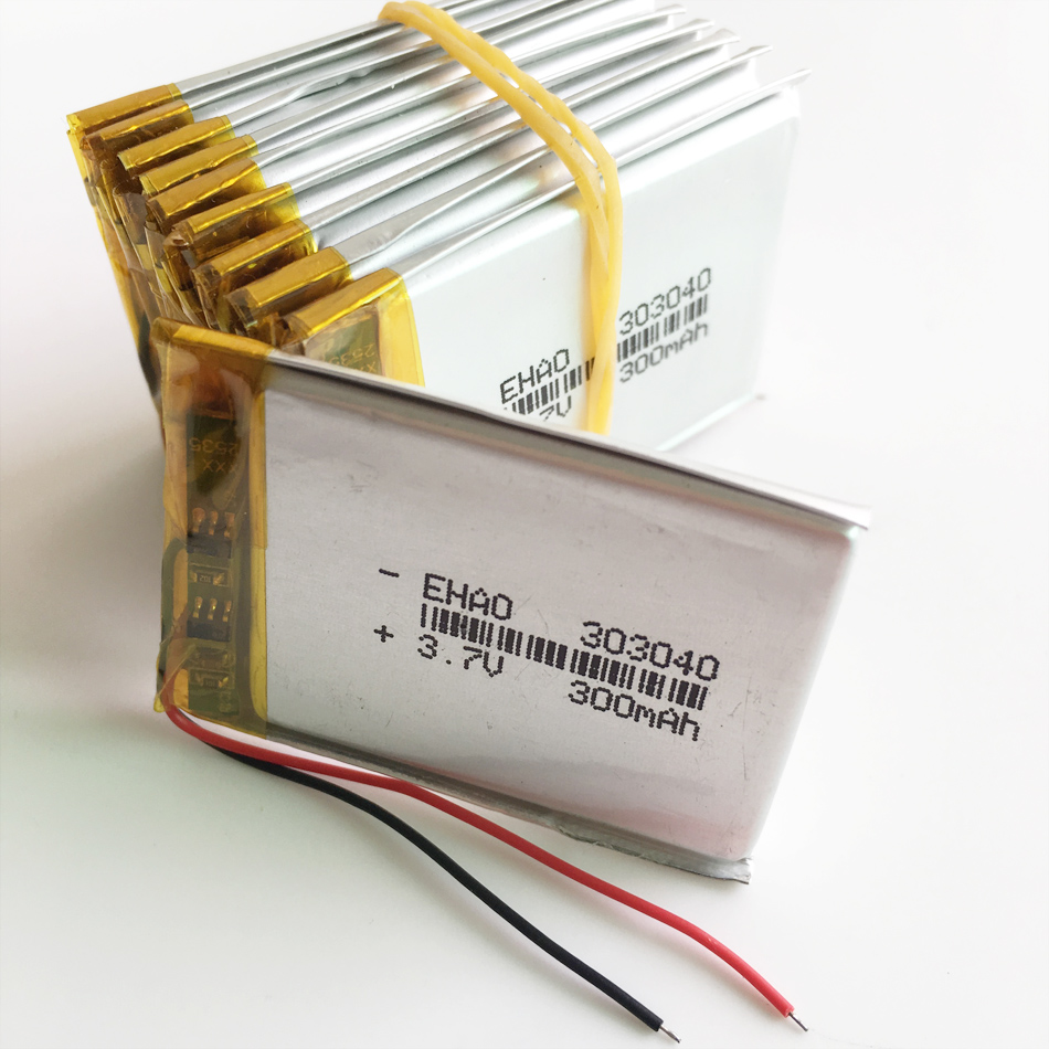lot 10 pcs 3.7V 300mAh 303040 Lithium Polymer Li-Po Rechargeable Battery For DIY Mp3 MP4 MP5 GPS PSP bluetooth electronic part image