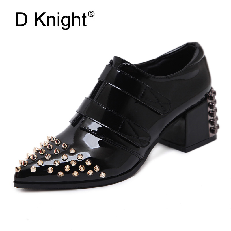 Rivet Women Pumps Pointed Toe Ladies Office & Casual Shoes Fashion Lace-up Square High Heels Hook & Loop Leather Shoes Woman Red facndinll new black patent genuine leather pointed toe rhinestone sexy high heels lace up women pumps ladies party casual shoes