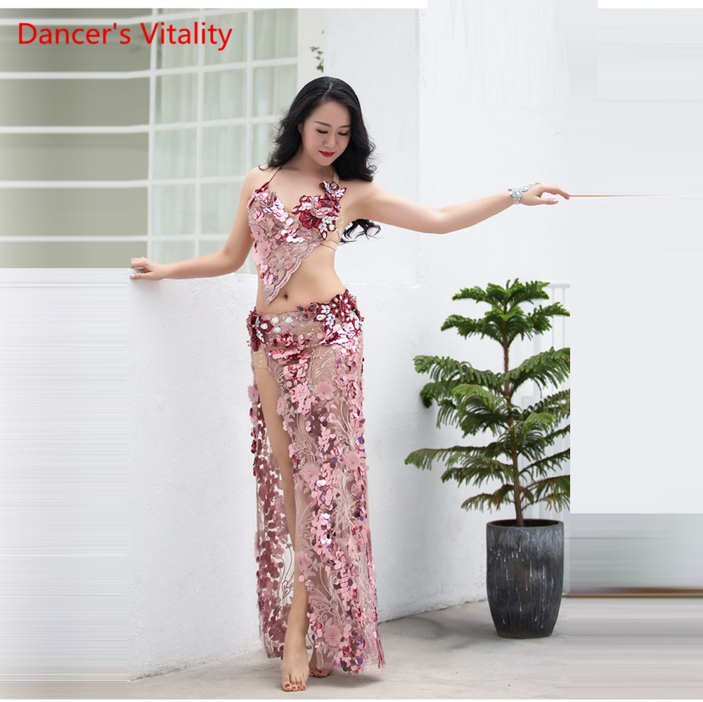 Women Spandex Belly Dance Belly Dance Costume Belly Dance Professional Set Women Bra + Skirt 2 Pcs Competition Set