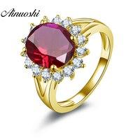 AINUOSHI 10 K массивная, желтая, Золотая Halo Кольцо 4 карата овальной огранки роскошное большое Красное Белое кольцо с камнем Женское Обручальное к