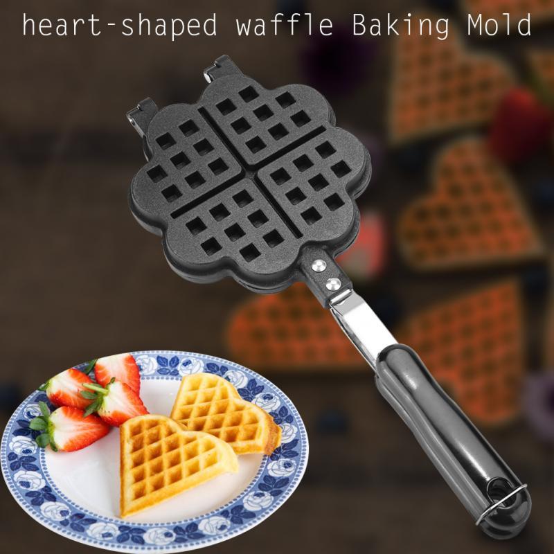 Waffle Baking Mold Heart Shape Household Kitchen Gas Non-Stick Waffle Maker Pan Mould Mold Press Plate Baking Tool