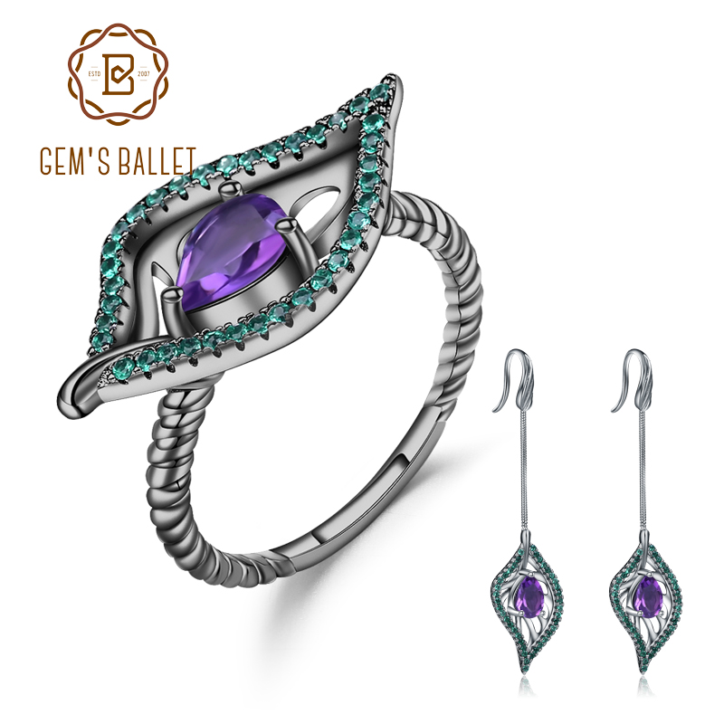 GEM S BALLET Natural Amethyst Vintage Gothic Jewelry Set 925 Sterling Silver Gemstone Earrings Ring Set