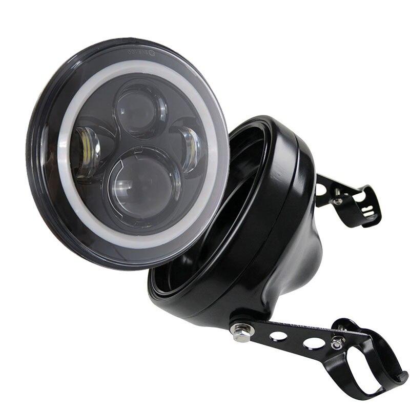 Rond 7 ''40 W H4 Halo anneau phare LED 7 pouces support de phare pour moto universelle vélos personnalisés électromobile