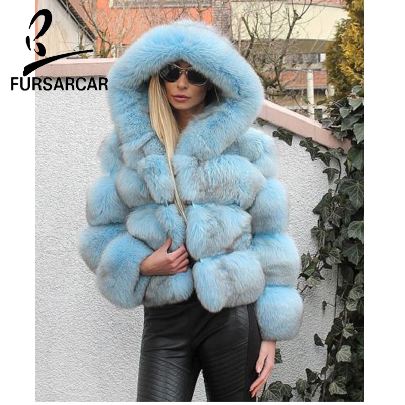 FURSARCAR 2018 New Fashion Natural Fox Real Fur Coat Women Short Slim Fox Fur Jacket With Hood Winter Warm Fur Coat Wholsale