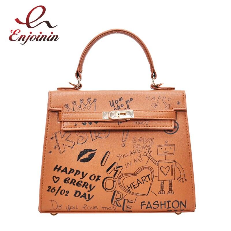 Cute fun cartoon pattern robotic printing fashion pu ladies handbag shoulder bag casual totes female crossbody messenger bag