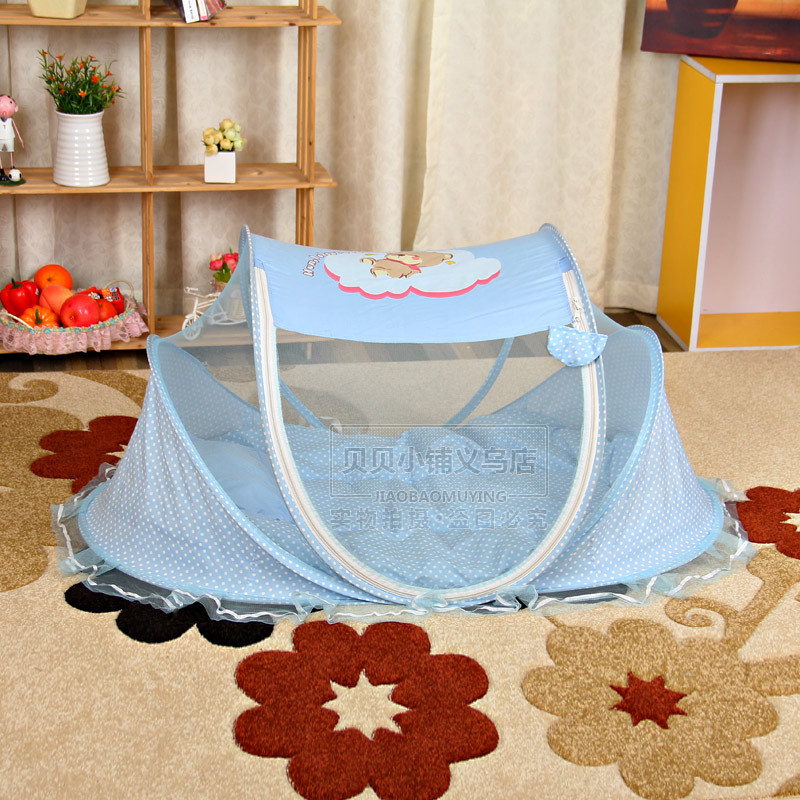 Fashion Baby Mosquito Net Summer Baby Infant Children Cradle Bed Netting Canopy Cushion Mattress + Pillow