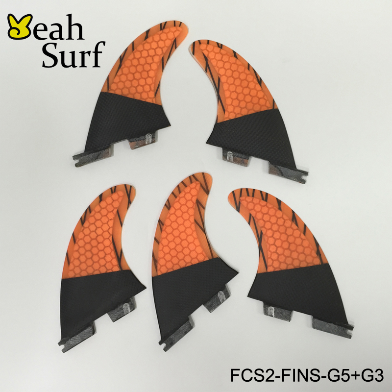 Surf FCS2 Fin G5+G3/G7+G3 3 Colors of Bicolor Fin Honeycomb Fibreglass Carbon Fiber Surf FCSII Fin Free Shipping of Good QualitY fitted surfboard fins fcs m g5 fins surf table surf fins with fcs g5 original bag