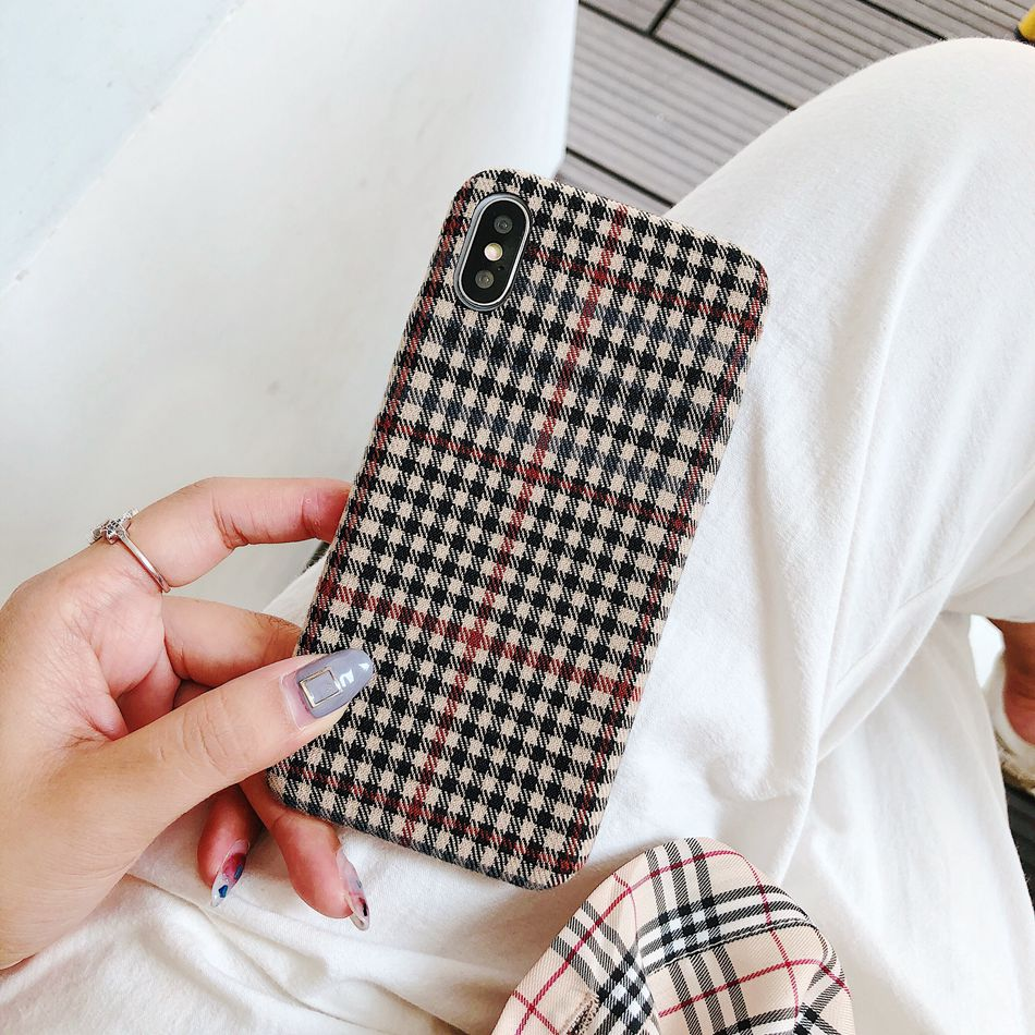 ee73e560f8d2 For iPhone XS Max Case Fashion Retro Cloth Grid Phone Case For iPhone 7 X 6  Xs 8 Plus XR Vintage Lattice Fabric Soft Back Cover