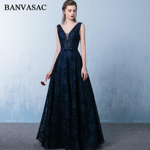 BANVASAC 2018 A Line Bow Sash Deep V Neck Long Evening Dresses Elegant Lace Embroidery Backless Party Prom Gowns