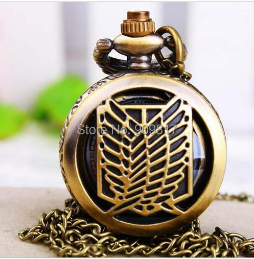 10 pcs/lot High quality bronze attack on titan quartz hollow out pocket watch necklace Free shipping