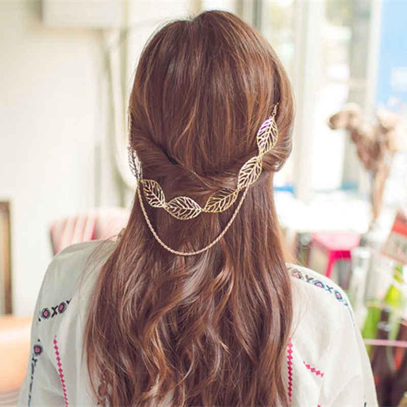 AE-CANFLY or creux feuille tête chaîne gland casque Hiar Clip femmes livraison directe cheveux accessoires 2H1012