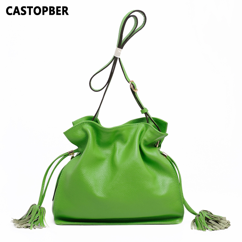 Candy Color Bag 100% Genuine Cowhide Leather Women's Handbag Messenger Bags Crossbody Bags For Women Tassel Summer Bag For Beach tassel color block beach throw