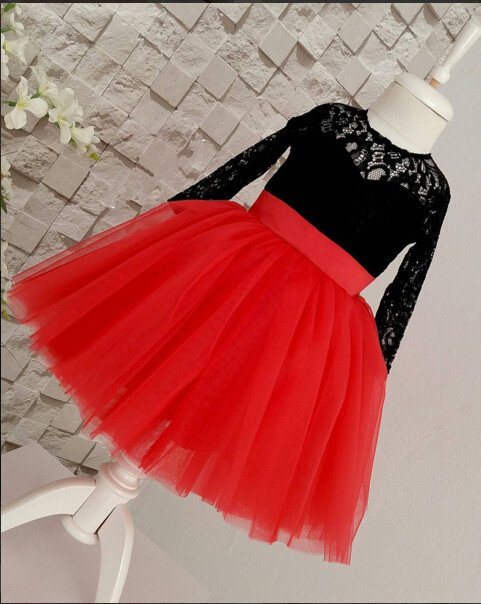 1 year Birthday Gown red pleated long flower girl dresses elegant princess puffy prom gowns juniors party frocks