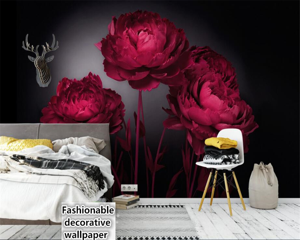 beibehang papel de parede 3d wallpaper Fantasy advanced indoor wall paper romantic personality fashion red rose