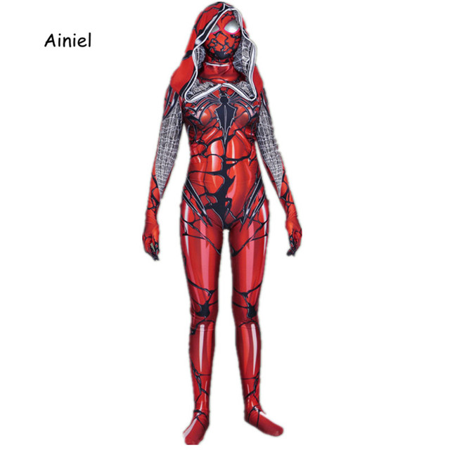 Venin Carnage Araignée Gwen Stacy Cosplay Costume Spidergir Spider man Lycra  Spandex Body Holloween Zentai Costume e93031ab0e5