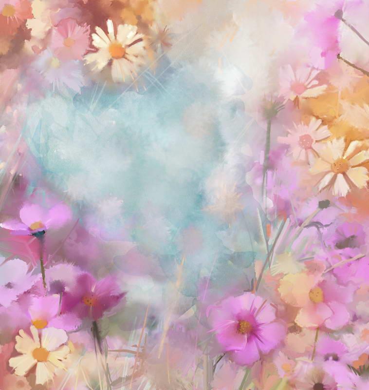 Bokeh Flowers Wedding: Bokeh Purple Yellow Flower Background Vinyl Cloth High