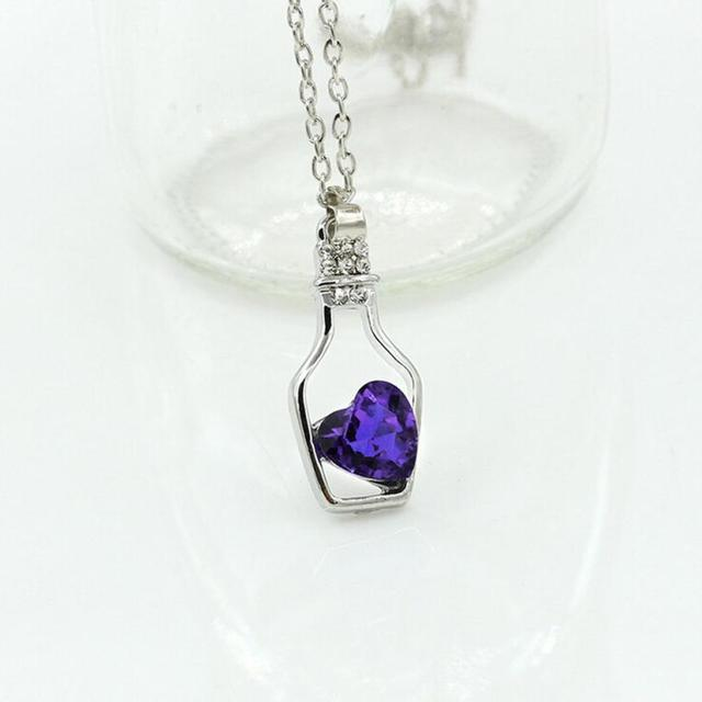 Best Heart Crystal Love In A Bottle Necklace Cheap  baby girl necklace cheap