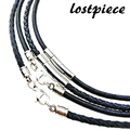 """2017 New Fashion 316L Stainless Steel Clasp 100% Genuine Leather Chain Necklace For Men 3/4mm Smooth Braided 16""""-30"""" LSC0001"""