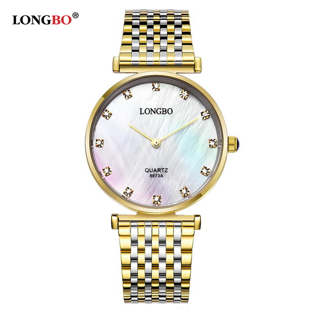 LONGBO Brand Fashion Luxury Womne Watches Business Style Stainless Steel  Waterproof Quartz Watch Analog Wristwatches 8973 longbo men and women stainless steel watches luxury brand quartz wrist watches date business lover couple 30m waterproof watches