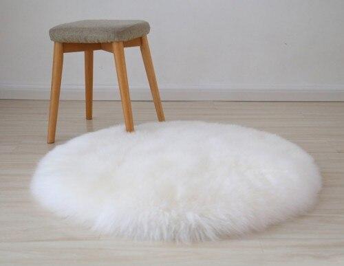 Натуральный коврик из овечьего меха лохматый коврик для стула, большой размер круглая подушка для сиденья, мех кофе Ковер Напольный коврик, зимний теплый коврик - Цвет: beige white