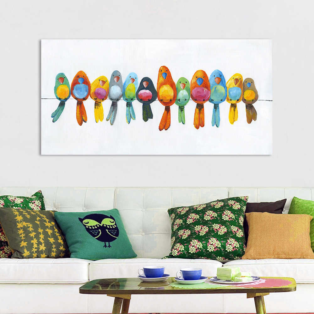 AAVV Wall Art Canvas Painting Animal Picture Posters Prints Home Decor Birds on Wire No Frame