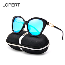 LOPERT Polarized High Quality Vintage Cat Eye Sunglasses Women Unique Oversize Shield Eyewear Sun Glasses oculos