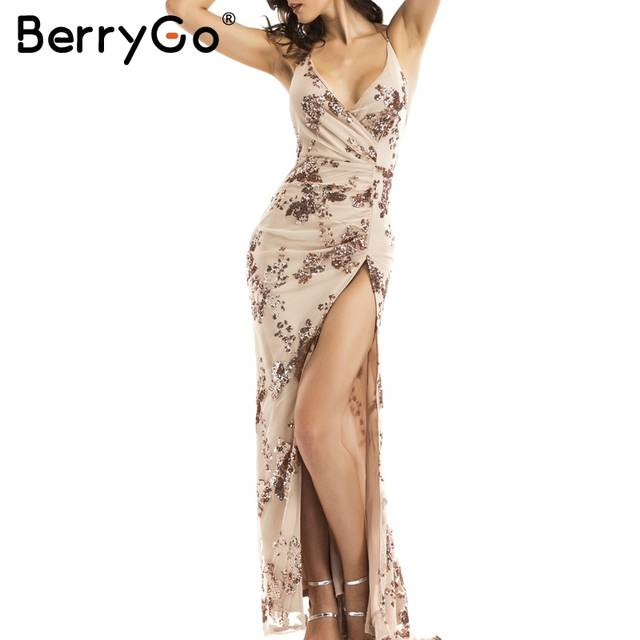 BerryGo Sexy lace up halter sequin party dresses women Backless high split  maxi dress womens clothing 3a52bbdc4694