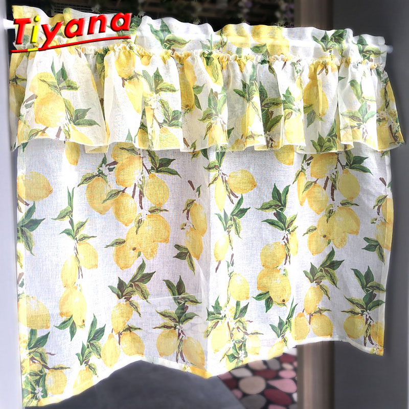1PCS W100*H80CM Short Curtains For Kitchen Customizable Lemon Pinted Curtains For Kidsroom Kitchen Accessories WP166#30