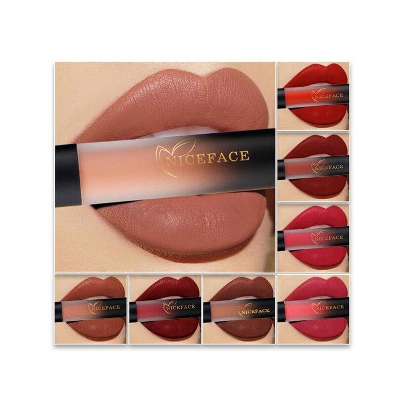 Waterproof Velvet Liquid Lipstick Sexy Red Lip Tint 18 Colors lip balm makeup Long Lasting Matte Nude Glossy Lipgloss