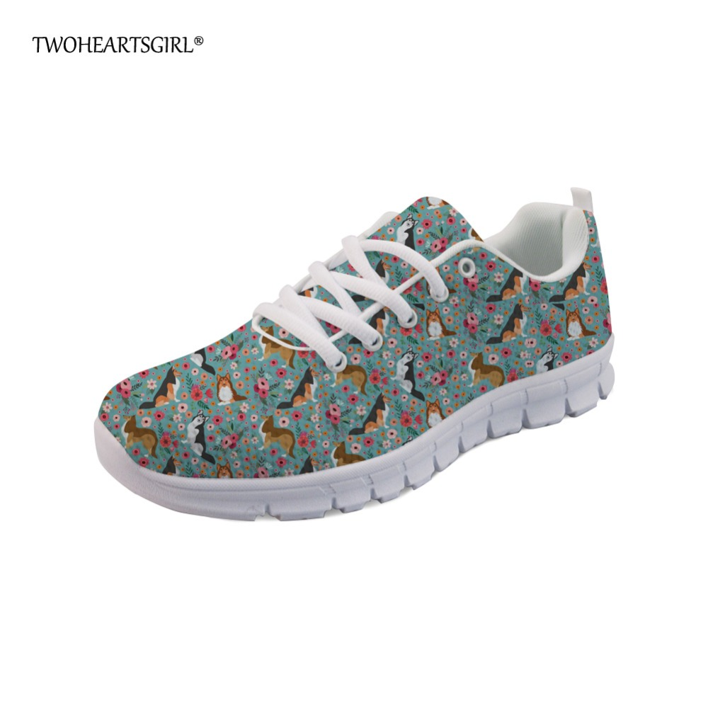 Twoheartsgirl Fashion Women Flats Cute Animal Sheltie Dog Pattern Green Sneakers Woman Breathable Comfortable Mesh Flat Shoes instantarts fashion women flats cute cartoon dental equipment pattern pink sneakers woman breathable comfortable mesh flat shoes