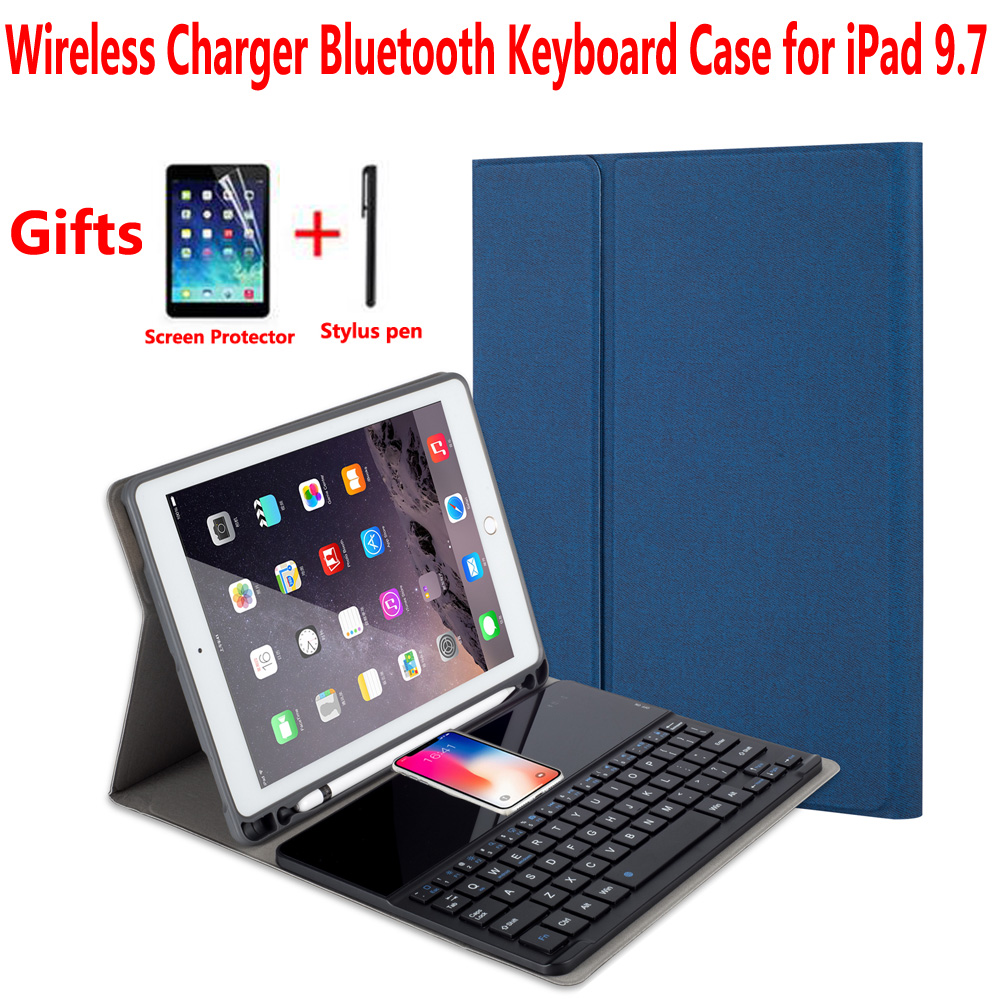 цена Wireless Charger Bluetooth Keyboard Cover Case for Apple iPad 9.7 2018 2017 5th/6th Generation Air 1/Air 2 Pro 9.7 Air1/Air2